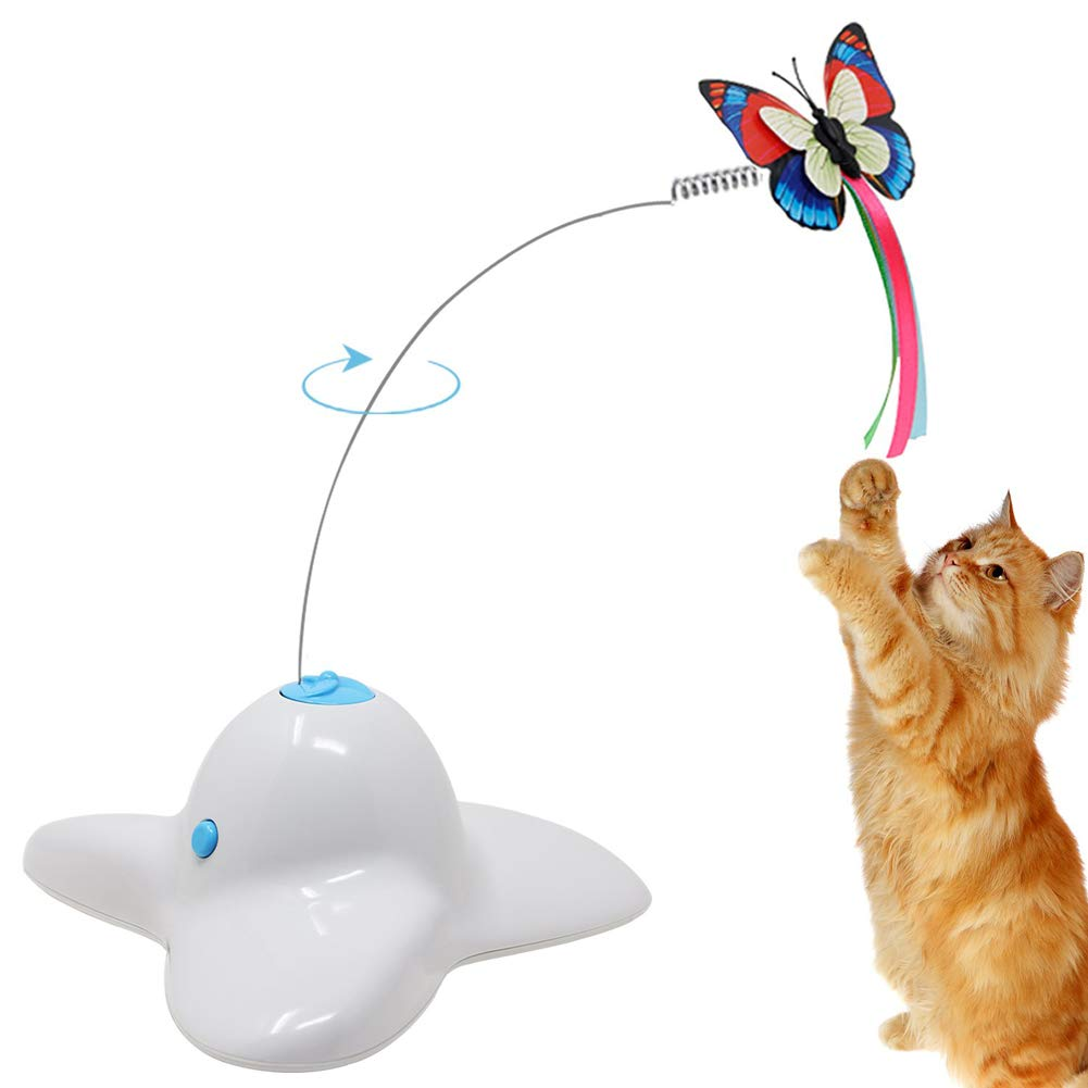 Electric redating Cat Toys Flashing Butterflies Interactive Toy for Cats,White