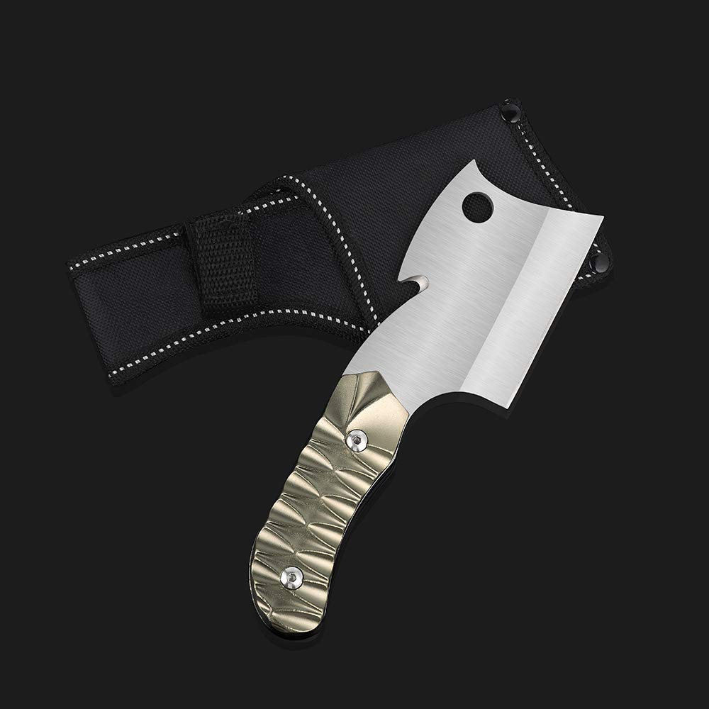 LIANTRAL Survival Camping Cleaver Knife with Sheath Fixed-Blade Hunting Knife, 7.4 x 2.3