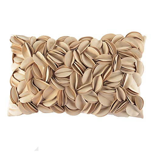 KingRose Handmade 3D Flower Home Decorative Throw Pillow Case Rectangular Cushion Cover 12 x 20 Inches for Bed Living Room Sofa Chair Beige (Beige Accent Pillows)