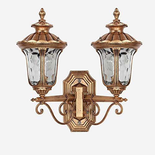 Modenny Retro Double Head E27 Outdoor Wall Lamps Villa Landscape Garden Outdoor Waterproof Wall Sconces Outdoor Wall Background Wall Lanterns Entrance Terrace Street Exterior Wall ()