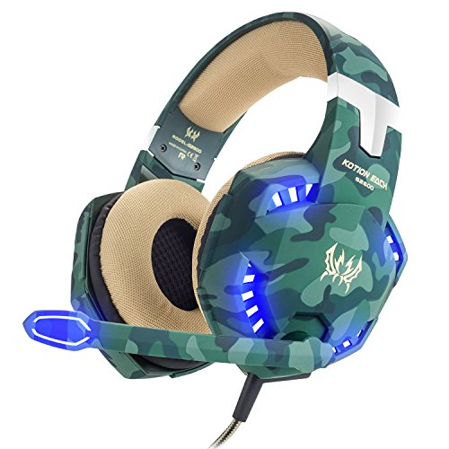 BIBOX G2600 Stereo Gaming Headset, Camouflage Comfortable Over Ear Headphones 3.5mm Jacks with Noise Cancelling Mic & LED Light for PC/Laptop/PS4/Xbox One with 2 to 1 Adapter Cable ()