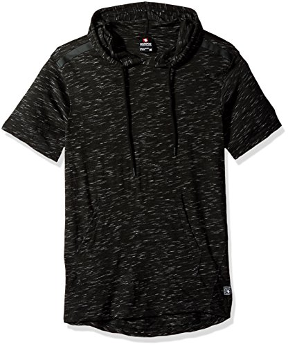 Southpole Men's Short Sleeve Slub Tee with Tech Detail, Marled Black(Hoody), X-Large