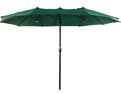 SUPERJARE 14 Ft Outdoor Patio Umbrella, Extra Large Double Sided Design  With Crank,