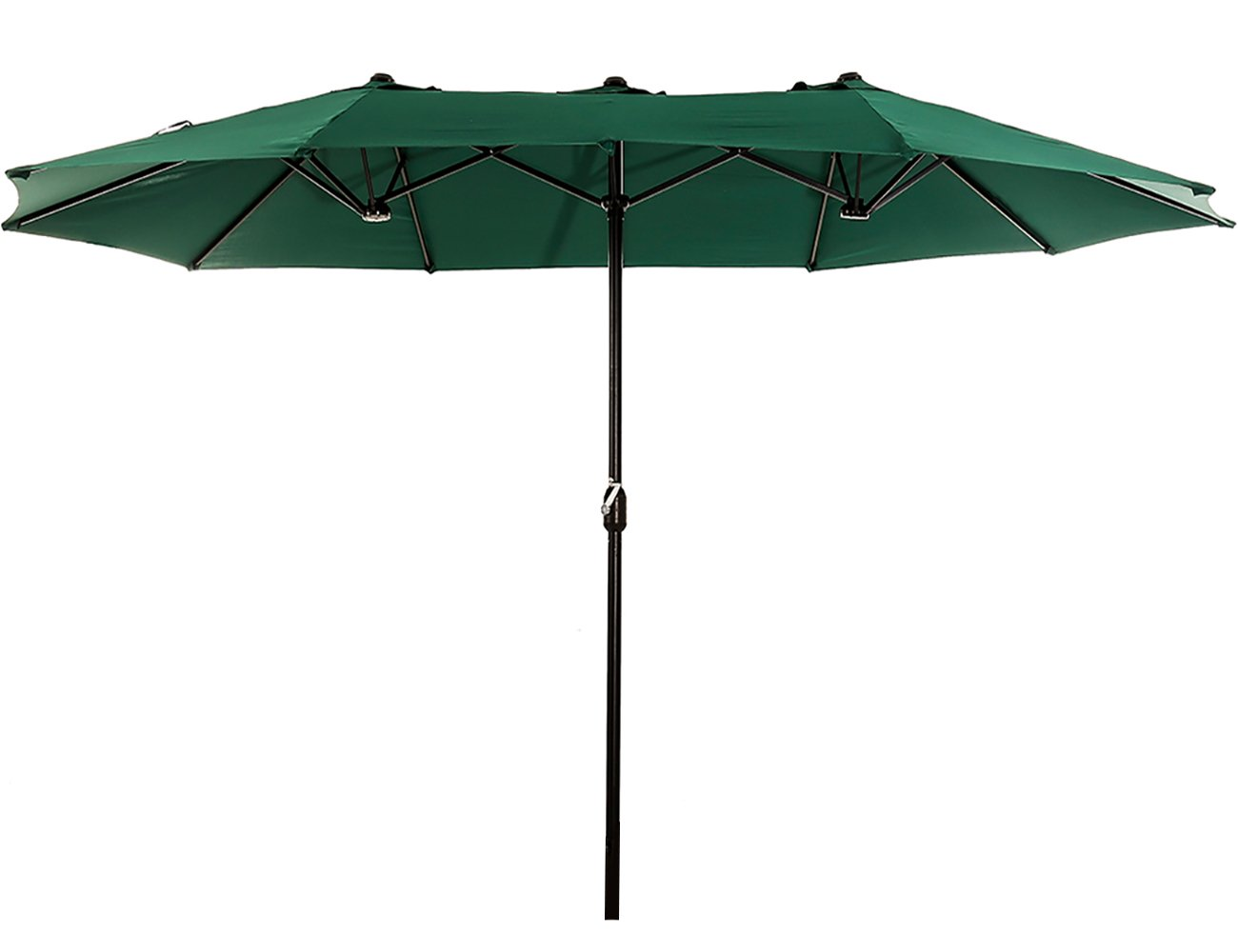 Superjare Outdoor Patio Umbrella with Crank System, Extra-large Double-sided Design, 100% Polyester Fabric - Green