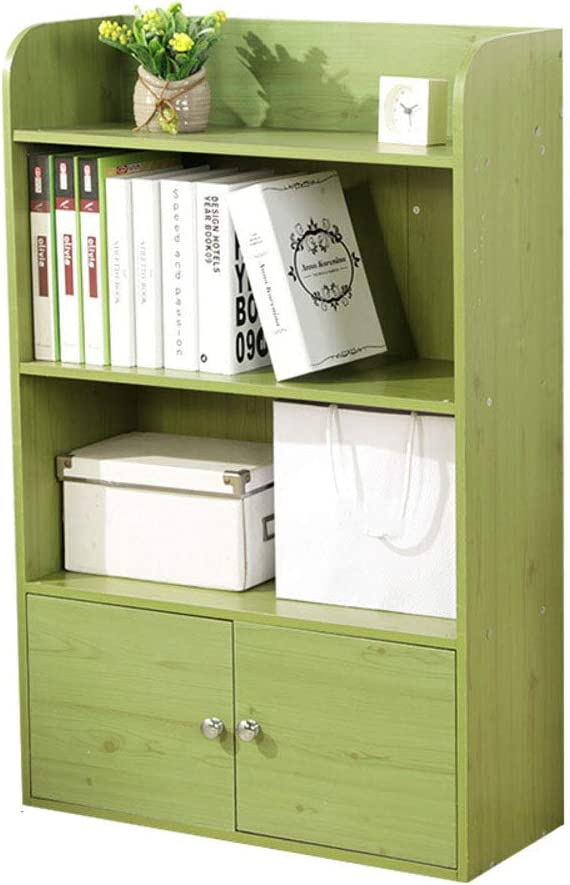 HM&DX Wood Bookcase with Doors 3-Tier,Vintage Bookshelf Cabinet Versatile Storage Organizer for Home Office-Green S