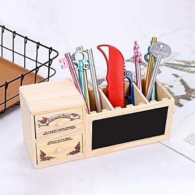 Caja de almacenaje de madera, organizador de escritorio, caja de almacenamiento multifuncional con cajones, habitación, decorativa, módulo de almacenamiento con portabolígrafos: Amazon.es: Bricolaje y herramientas