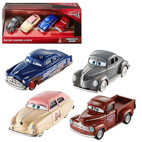 Cars Disney Pixar 3 Thomasville Legends 4 Pack Dirt Track Fabulous Hudson Hornet, Heyday Smokey, Junior Moon, Louise Nash Die Cast 1:55 Vehicles