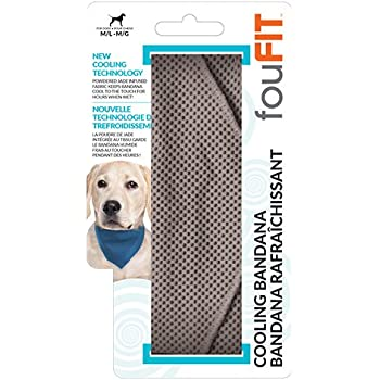 Extra Absorbent Cooling Bandana For Dogs 100% Non-Toxic Lightweight Material, Lowers Body Temperature and Relieves Heat Stress - Stays Cool for 2-5 Hours Large Grey