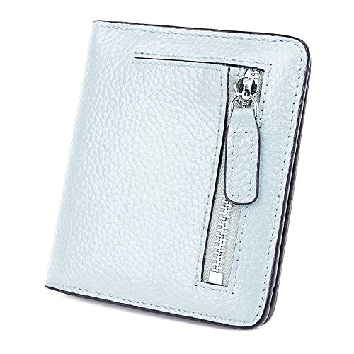 BIG SALE-AINIMOER Women's RFID Blocking Leather Small Compact Bifold Pocket Wallet Ladies Mini Purse with id Window (Grayish White)
