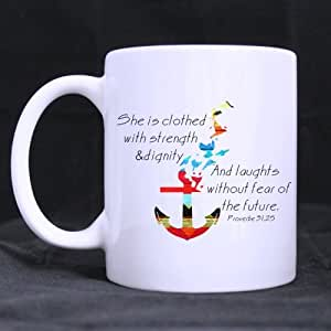 Blue Red Chevron Anchor Mug - Proverbs 31:25 She Is Clothed With Strength And Dignity Bible Verse Coffee Mug or Tea Cup - 11 ounces