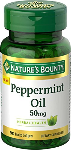 (Nature's Bounty Peppermint Oil Pills and Herbal Health Supplement, Naturally Calming Dietary and Bowel Support, 50mg, 90 Softgels)