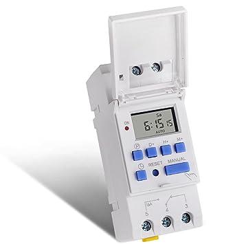 SINOTIMER Electronic Weekly 7 días Programable Digital TIME TIME RELOJ Temporizador de control AC 24V 16A Din Rail Mount: Amazon.es: Bricolaje y ...