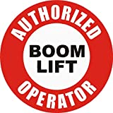 Oval authorized boom lift 4x4 size - funny for constrution hard hat pro union working men lunch box tool box symbol window motorcycle biker car - Made and shipped in USA