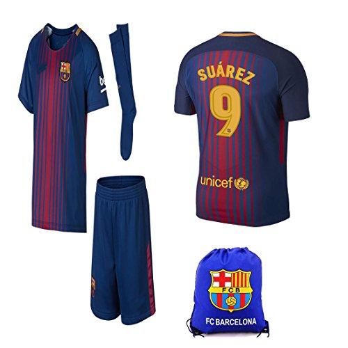 Shirt Home Kit - BARCA2018 Barcelona NB Messi Suarez Iniesta Neymar 2017 2018 17 18 Kid Youth Replica Home Jersey Kit : Shirt, Short, Socks, Bag (L. Suarez Home, Size 24 (7-8 Yrs Old Approx.))