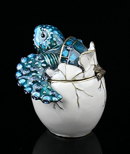 Waltz&F Trinket Box Collectible Turtle Figurines Hatching Baby Turtle From an Egg Metal Jewelry Box Hatching (Baby Sea Turtle Box)