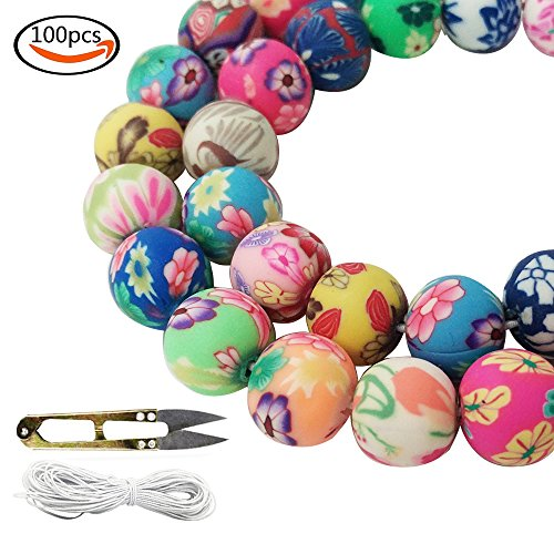 Handmade Fimo (WXBOOM 100pcs Assorted Handmade Colorful Pattern Beads Fimo Polymer Clay Round Spacer Bulk Beads with 1 Pair of Scissors and 1 White Cord (10mm) for Jewelry Making)