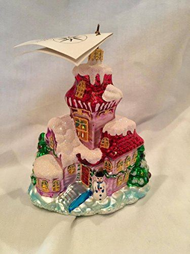 Christopher Radko Ornament (Pink House with Snow and Snowman) 5