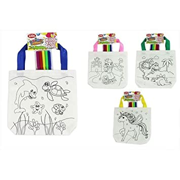KIDS COLOUR YOUR OWN TOTE BAG 5 FELT TIP PENS COTTON KIDS ARTS ...