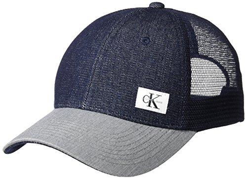 Calvin Klein Jeans Men's Snapback Trucker Hat, Dark Indigo, ONE SIZE
