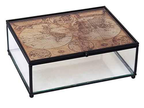 Hosley Tabletop Glass Globe Map pattern Storage Box- 8.3