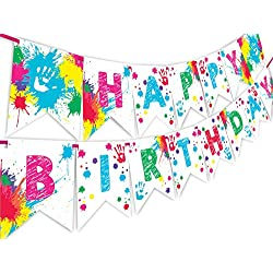 Art Party Happy Birthday Banner Pennant