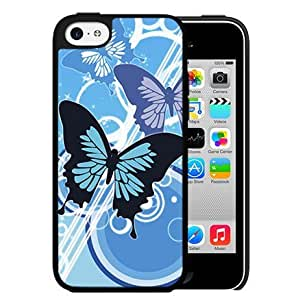 Blue Butterflies Vector Abstract Art (iPhone 5c) Hard Snap on Phone Case Cover