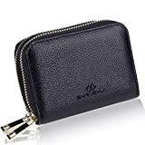 SHANSHUI Card Holder Wallets for Women, RFID Credit Card Holder Wallet Made from Primely Genuine Leather (Black)