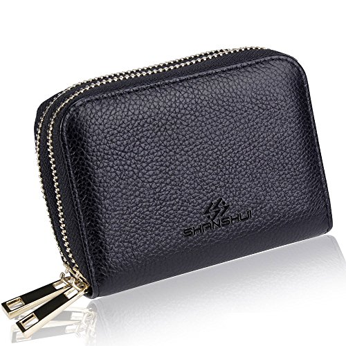 Card Holder Wallets for Women,SHANSHUI RFID Credit Card Holder Wallet Made from Primely Genuine Leather Mother's Day Gift (Black) by SHANSHUI
