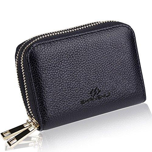 SHANSHUI Card Holder Wallet, Primely Genuine Leather RFID Credit Card Holder for Women (Black)