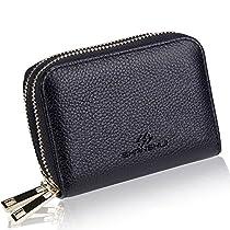 SHANSHUI RFID Blocking Primely Genuine Leather Credit Card Wallet Holder for Women