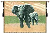 Elephants Belgian Woven Chenille Wildlife Tapestry Wall Hanging