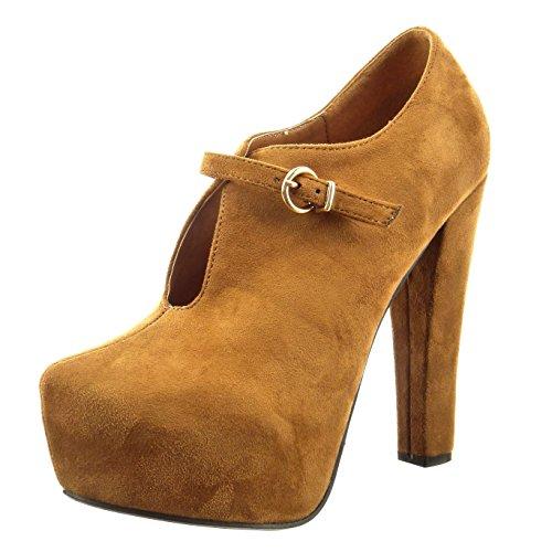 Sopily - damen Mode Schuhe Stiefeletten Plateauschuhe Offen Schleife - Camel