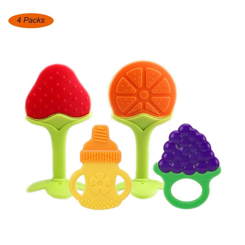 Natural Organic Freezer Safe Silicone Teethers Yisscen BPA gratis Juguetes para la dentici/ón para beb/és//mordedor de frutas para beb/és 4 paquetes Mordedor Bebes