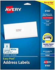 "Avery Address Labels with Sure Feed for Inkjet Printers, 1"" x 2-5/8"", 750 Labels, Permanent Adhesive"