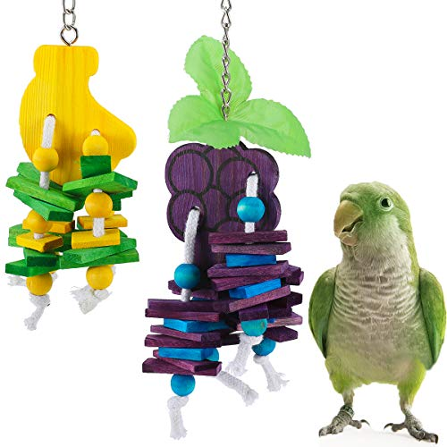 MEWTOGO 2 Pack Natural Wood Block Parrot Chew Toys- Grape&Banana Shaped Hanging Cage Chewing Foraging Toy for Eclectus Budgies Parakeet Cockatiel Conure Lovebirds Small&Medium Birds