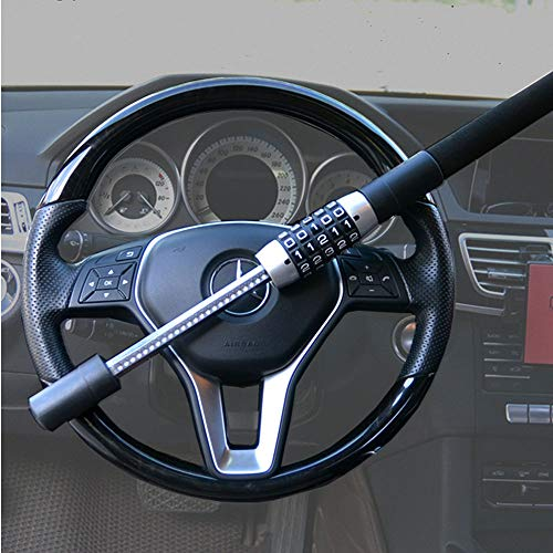 Steering Wheel Lock 5 Digit Combination Anti-Theft Extendable Double Hook Car Security Device Universal Vehicle Truck Van SUV Keyless Password Coded Twin Hooks Retractable Heavy Duty Guard Anti Theft by xj (Image #2)