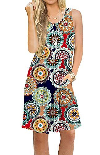 AUSELILY Women's Sleeveless Pleated Loose Swing Casual Dress with Pockets Knee Length (S, 01Round Floral Red)