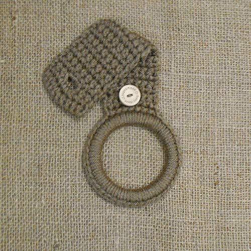 Light Brown Crochet Hanging Dish Towel Holder, Kitchen Decor ()
