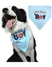 BINGPET Dog Birthday Bandana Pet Scarf for Small Medium Large Dogs Accessories Dress Blue
