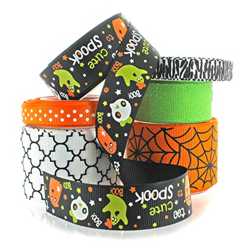 Halloween Ribbon Mixed Assortment - 30 Yards Total - 6 Different Styles (Set 4)]()