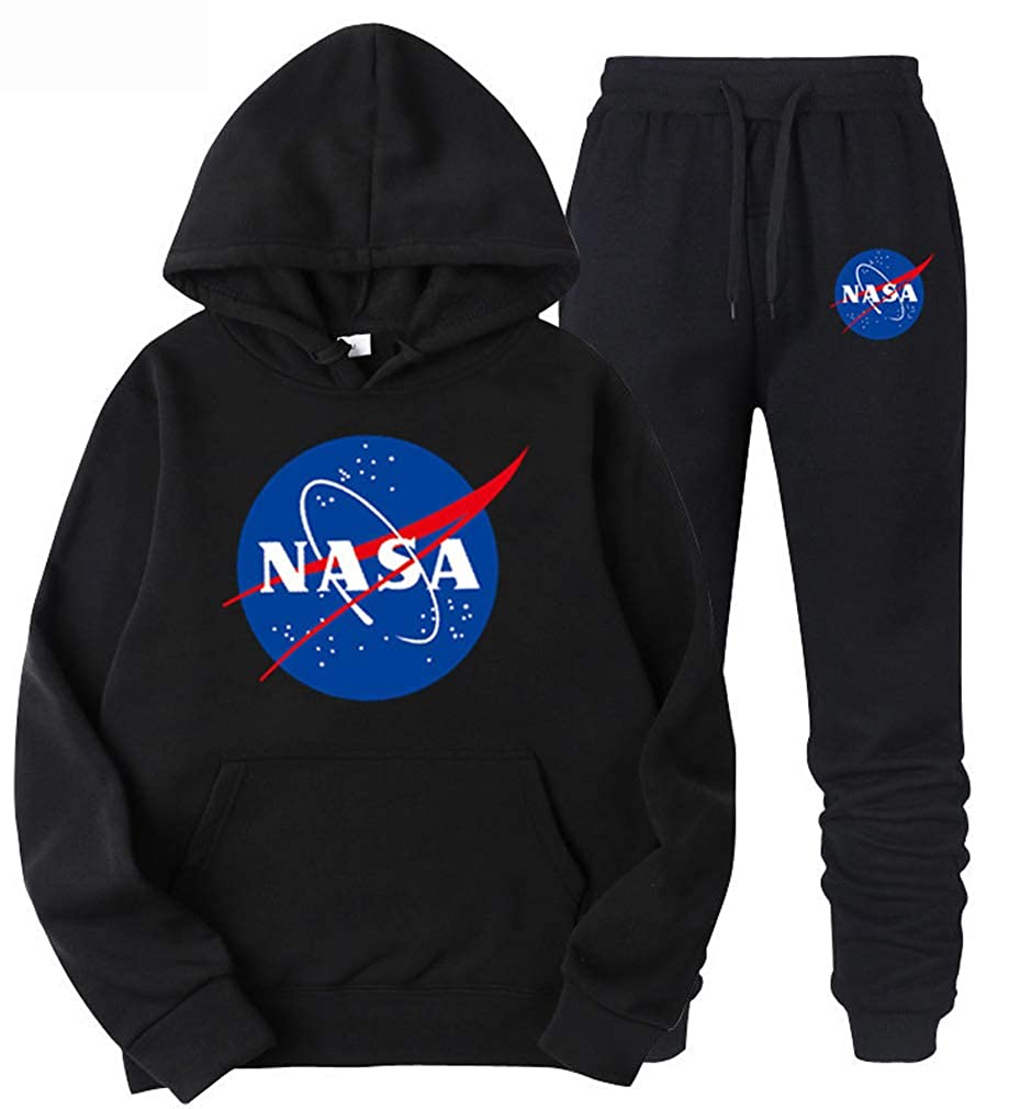 Leslady Tuta Sportiva da Uomo Felpe con Cappuccio Invernali Caldo Tuta Cappotto Logo NASA Hooded Sweatshirt Pantaloni 2 Pezzi Jogging Palestra Set