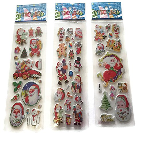 Merry Christmas Stickers Holiday Puffy Dimensional Santa Claus Gifts Assorted Designs 3 Packs ()