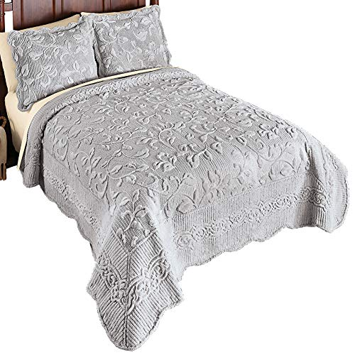 Collections Etc Elegant Faux Fur Leaves Quilt - Plush Raised Floral Design, Silver, King