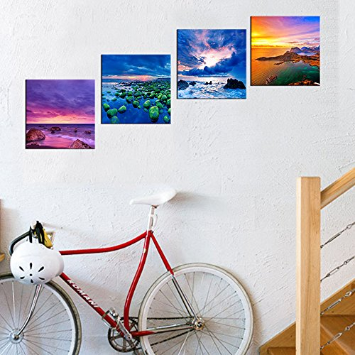 "Yearainn Canvas Art Beach Sunset Canvas Prints Ocean Painting Nature Pictures Blue Canvas Wall Art Decor Modern Artwork 12\"" by 12\"" 4 Pieces"