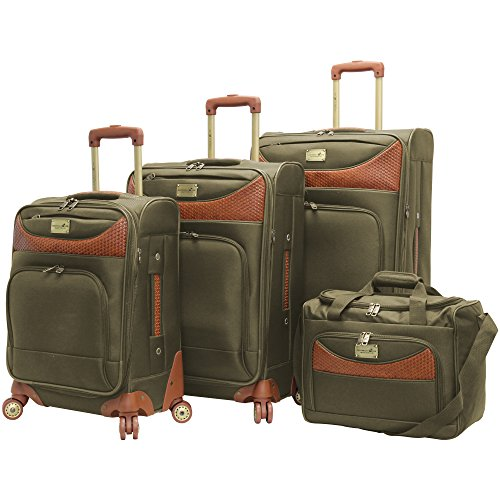 Caribbean Joe Castaway 4-Piece Spinner Luggage Set (Olive) by Caribbean Joe