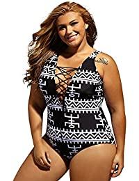 Women's Sexy Lace Up V Neck One Piece Swimsuit Swimwear Plus Size