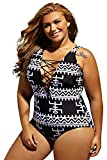 Women's Sexy Print Lace Up V Neck One Piece Swimsuit Monokini Swimwear Bathing Suits Plus Size XXL 18 20
