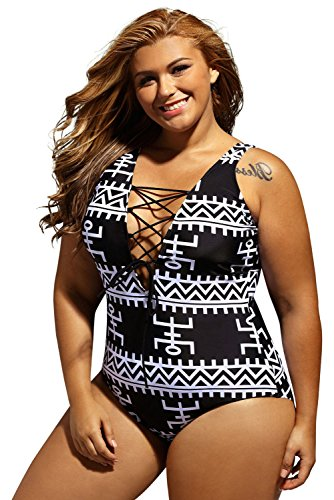 Plus One Piece Swimsuit (Women's Sexy Print Lace Up V Neck One Piece Swimsuit Monokini Swimwear Bathing Suits Plus Size XXX-Large)