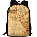 CY-STORE Map Discovery America Ship Train Print Custom Casual School Bag Backpack Travel Daypack Gifts