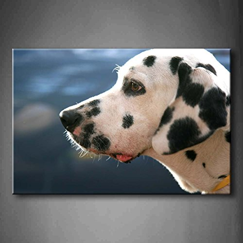 First Wall Art - White Dog With Black Spot Wall Art Painting